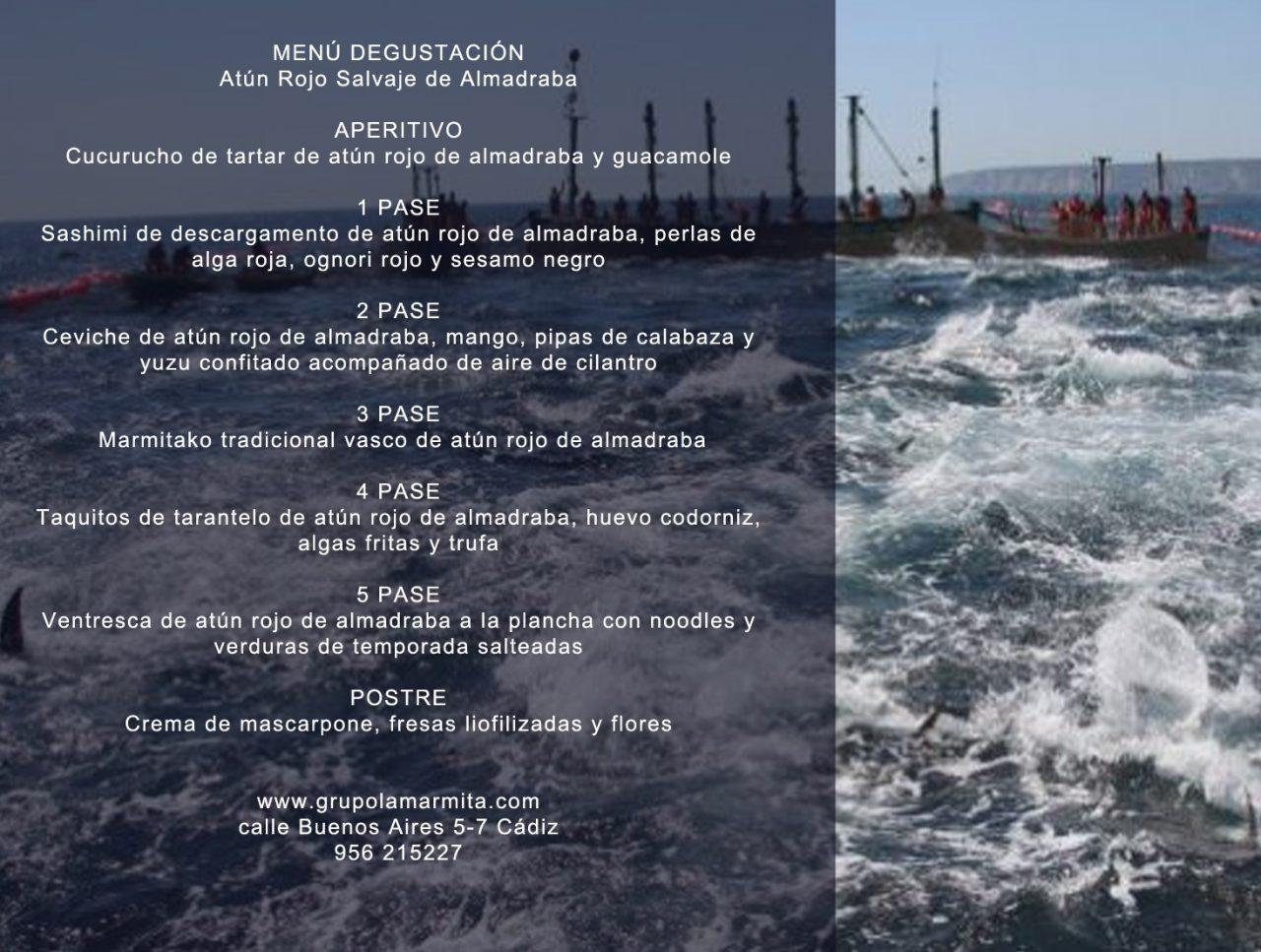 menu degustación atún rojo de almadraba